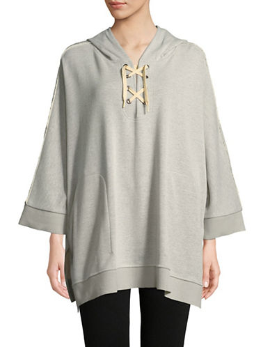 Sam Edelman Hooded Lace-Up Poncho-GREY-Small