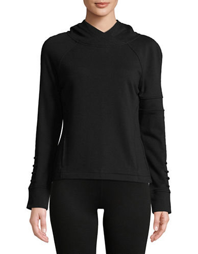 Sam Edelman Crossover Back Hoodie-BLACK-X-Small