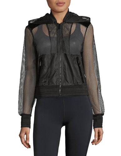 Sam Edelman Hooded Full-Zip Mesh Jacket-BLACK-Large