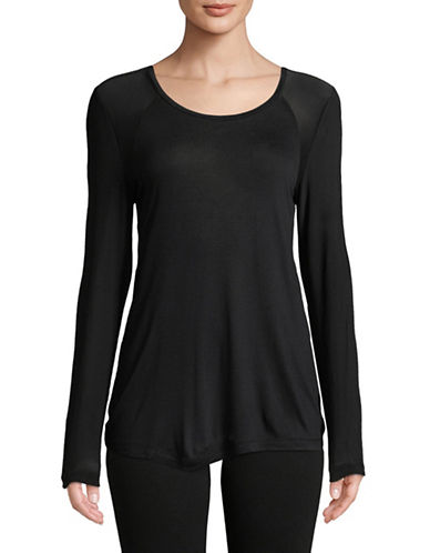 Sam Edelman Mesh Back Long-Sleeve Tee-BLACK-Medium