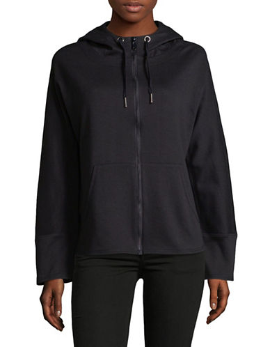 Sam Edelman Lightweight Full-Zip Hoodie-BLACK-Small