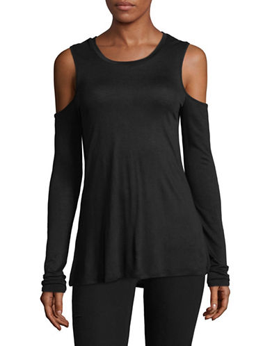 Sam Edelman Long Sleeve Cold Shoulder Top-BLACK-X-Small