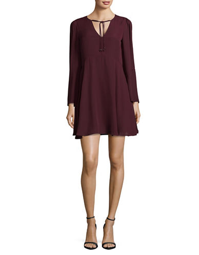 Sam Edelman Bell-Sleeved Tie Dress-RED-0