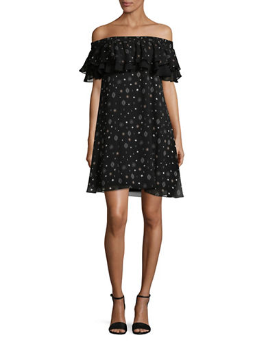 Sam Edelman Off-the-Shoulder Ruffle Dress-BLACK-8