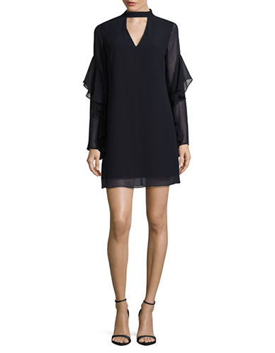 Sam Edelman Ruffled Choker Dress-NAVY-12
