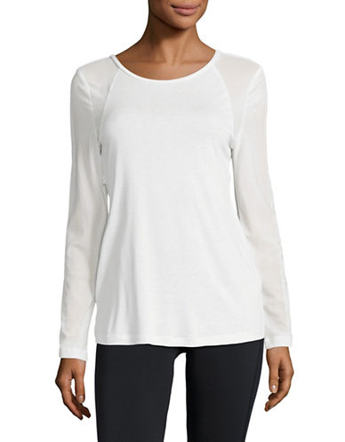 Sam Edelman Mesh Back Long-Sleeve Tee-WHITE-Medium
