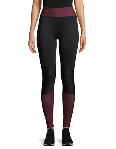Sam Edelman Mesh-Paneled Leggings-BURGUNDY-Medium