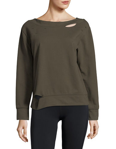 Sam Edelman Distressed Boat Neck Sweatshirt-GREEN-X-Large