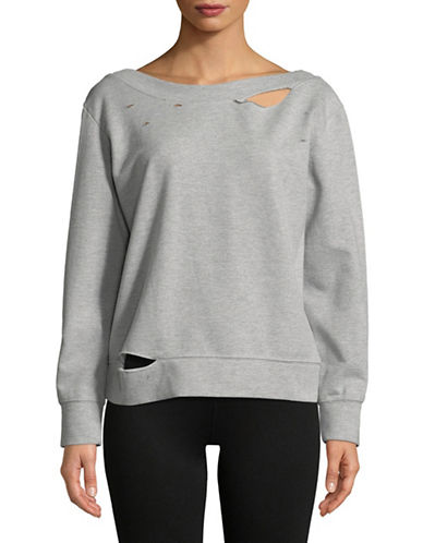 Sam Edelman Distressed Boat Neck Sweatshirt-GREY-Medium