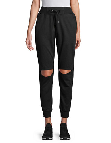 Sam Edelman Knee Slit Jogger Pants-BLACK-Medium