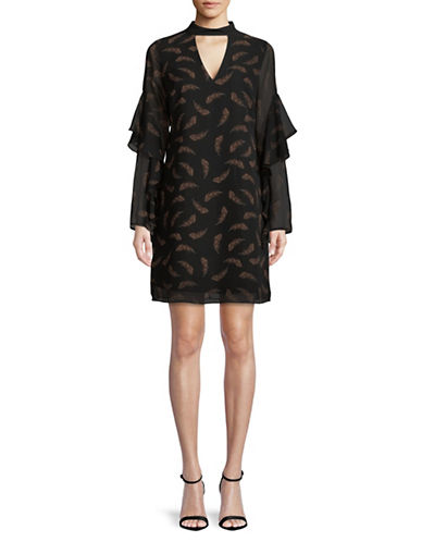 Sam Edelman Feather Print Choker Dress-BLACK MULTI-8
