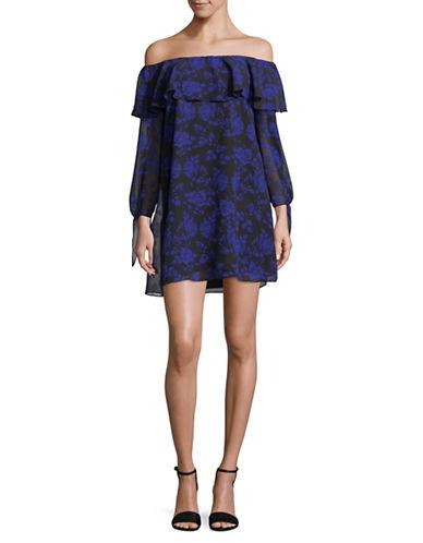 Sam Edelman Floral Off-the-Shoulder Ruffle Dress-BLUE-12