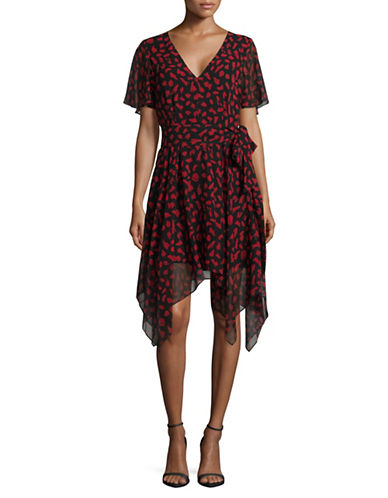 Sam Edelman Hanky Hem Shift Dress-RED/BLACK-0