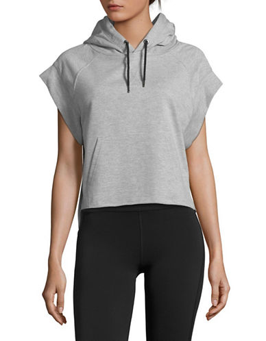 Sam Edelman Boxer Short-Sleeve Hoodie-GREY-Medium 89700884_GREY_Medium