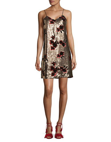 Sam Edelman Sequined Cami Shift Dress-GOLD-8