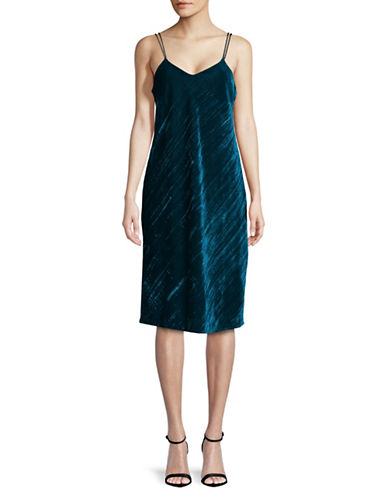 Sam Edelman Velvet Short-Sleeve Dress-GREEN-4