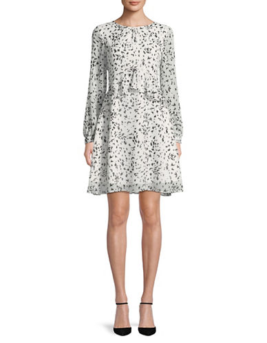 Sam Edelman Long-Sleeve Ruffle Chiffon Fit-and-Flare Dress-WHITE/BLACK-0