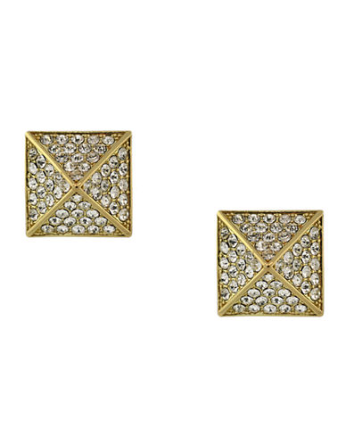 Vince Camuto Micro-Pave Pyramid Stud Earrings-GOLD-One Size
