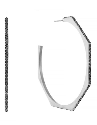 Louise Et Cie Open Pave Hoop-SILVER-One Size