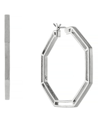 Louise Et Cie Signature Links Open Metal Octagon Hoop-SILVER-One Size