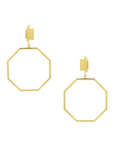 Louise Et Cie Gypsy Goldtone Octagonal Hoop Drop Earrings-GOLD-One Size