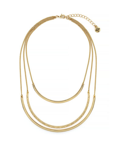 Bcbgeneration Front to Back Tri Layering Metal Collar Necklace-GOLD-One Size