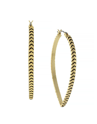 Bcbgeneration Cheveron Teardrop Textured Hoops-GOLD-One Size