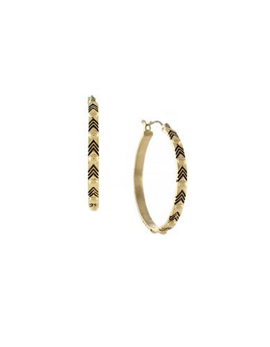 Bcbgeneration Dome Metal Stud Detail Hoops-GOLD-One Size