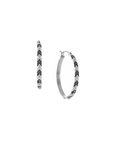 Bcbgeneration Dome Metal Stud Detail Hoops-SILVER-One Size