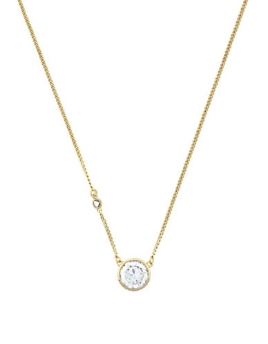 Cole Haan Round Cubic Zirconia Pendant Necklace-GOLD-One Size