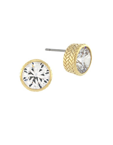 Cole Haan Round CZ Stud Earrings-GOLD-One Size