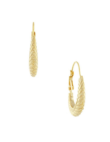 Cole Haan Basket Weave Oval Hoops-GOLD-One Size