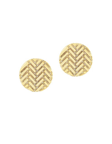 Cole Haan Etched Basket Weave Earrings-GOLD-One Size