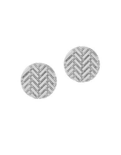 Cole Haan Etched Basket Weave Earrings-SILVER-One Size