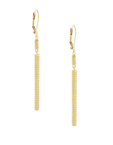 Cole Haan Etched Basket Weave Linear Earrings-GOLD-One Size