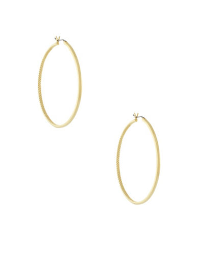 Cole Haan Thin Basket Weave Hoops-GOLD-One Size