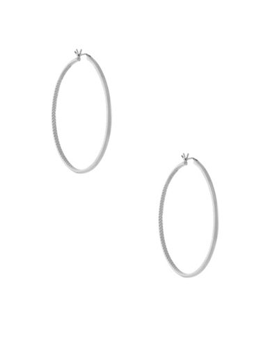 Cole Haan Thin Basket Weave Hoops-SILVER-One Size