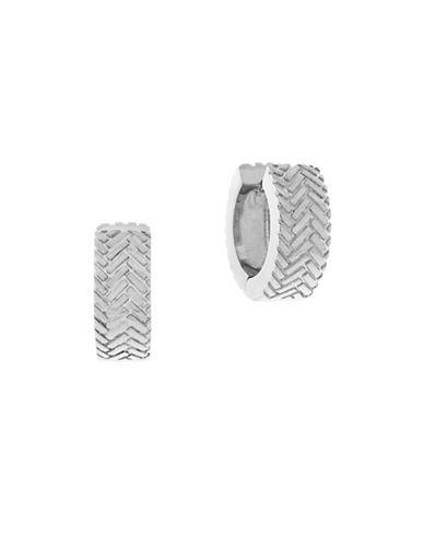 Cole Haan Basket Weave Hugger Earrings-SILVER-One Size