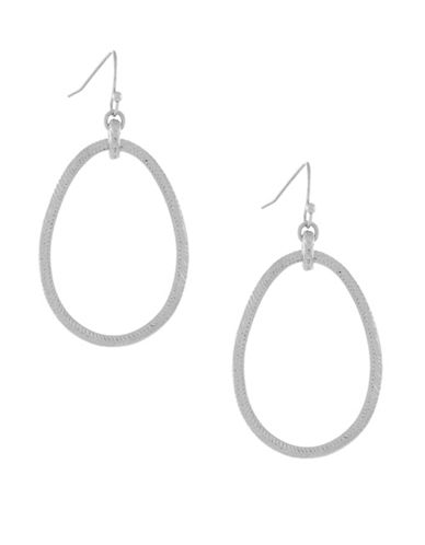 Cole Haan Basket Weave Oval Hoops-SILVER-One Size