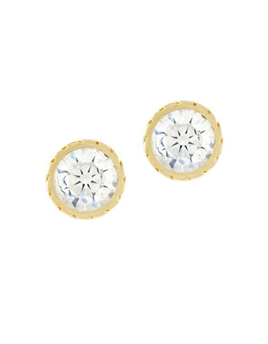 Cole Haan Etched Bezel Stud Earrings-GOLD-One Size