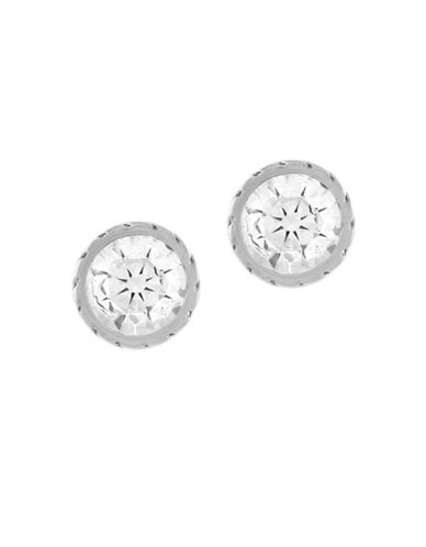 Cole Haan Etched Bezel Stud Earrings-SILVER-One Size