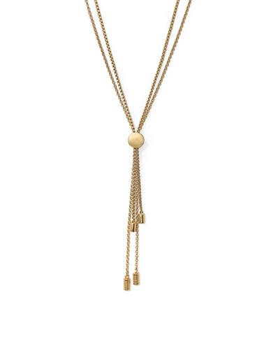 Botkier New York Tassle Pull-Tie Y Necklace-GOLD-One Size