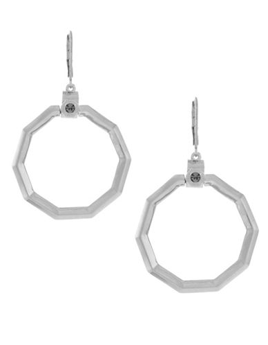 Louise Et Cie Octagon Stone Lever Back Hoop Earrings-SILVER-One Size