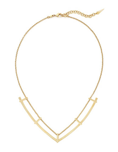 Botkier New York Sliding Bars Goldtone V-Chain Necklace-GOLD-One Size