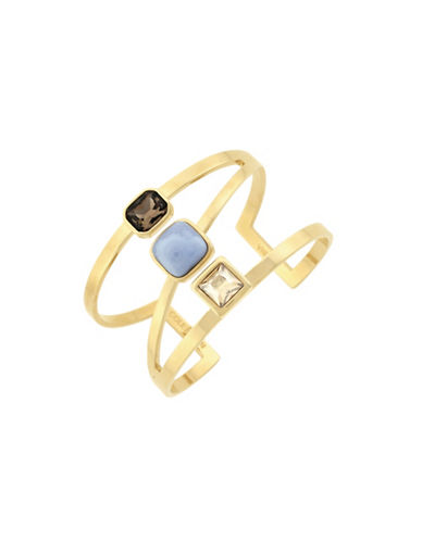 Cole Haan Swarovski Golden Shadow Crystal Cuff Bracelet-GOLD-One Size