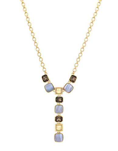 Cole Haan Swarovski Crystal and Blue Lace Agate Y-Necklace-GOLD-One Size