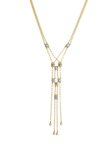 Cole Haan Swarovski Golden Shadow Crystal Double Y-Necklace-GOLD-One Size