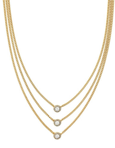 Cole Haan Cubic Zirconia Three Layer Necklace-GOLD-One Size