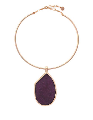 Vince Camuto Rose Gold Wire Choker Pendant Necklace-PURPLE-One Size