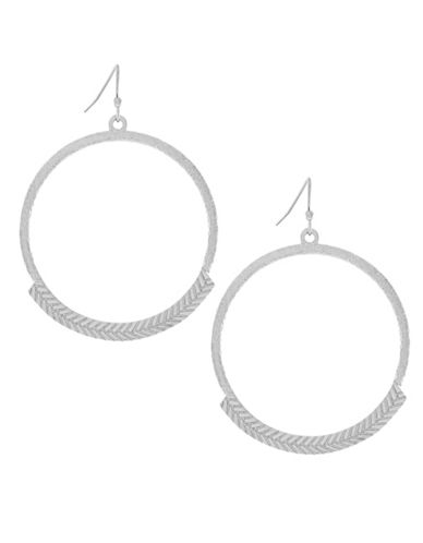 Cole Haan Silvertone Basketweave Gypsy Hoop Earrings-SILVER-One Size